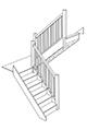 Лестница с поворотной площадкой на 180 градусов