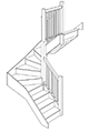 Лестница с поворотными ступенями на 180 градусов